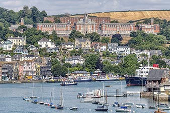 Beautiful Dartmouth as seen from the River Dart .